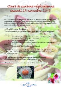 Cours de cuisine végétarienne samedi 25 Novembre, Albi